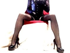 Heels Seamed Nylons Lace and Shiny Wetlook PVC & Harness Bra