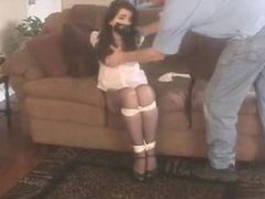 hot girl convinced to be tied and gagged