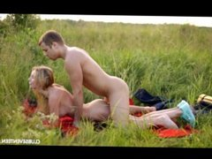 Blonde girl Kika gets fucked after a picnic from behind on her belly