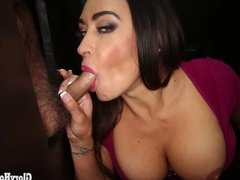 Hot Mom swallowing cum at Gloryhole