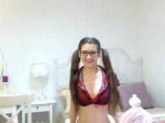 Hot Kate in her schoolgirl uniform dresses teases strips spreads n plays