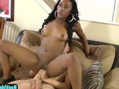 Black beauty Chanel Bryant blows white dick and gets fucked