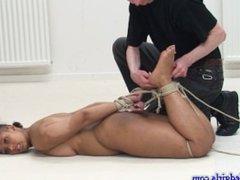 Girl being hogtied