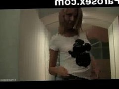 Playful young blonde girl filmed herself and undressed