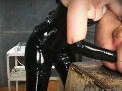 Femdom - slave fisted and sounded by bimbo Domme in latex