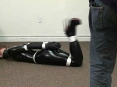 Pheobe Bound in a Catsuit, Gloves and Over the Knee Boots (Tied in Heels)