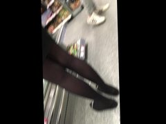 Tight short skirt girl on her toes