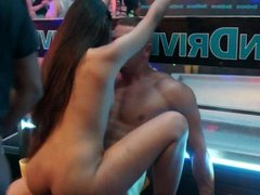 Horny clubbers fucking in public