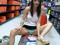 Sexy amateur fingering and showing her pussy in shoe store