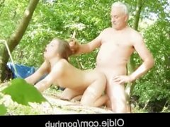 Old dad ass spanked step daughter fucked hard outdoor cum in her mouth