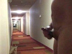 Jerking off in hotel hallway