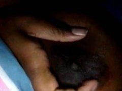 Ebony bbw playing with tits