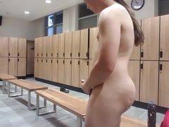 Jerking off and fingering himself in the lockerroom