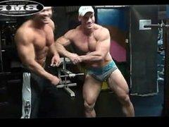 Two bodybuilders posing