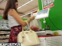 Lady in white top filmed on upskirt cam