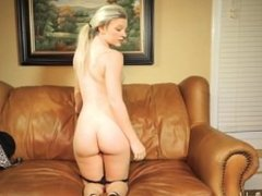 Hard bodied blonde turns slut on casting couch