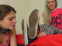 Skate mistress stinky and sweated lez foot domination