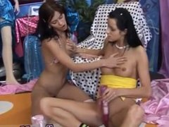 Lesbian pussy circle Hot fabulous buddies playing with a vibrator