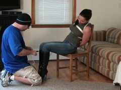 Tilly McReese Bound & Ball Gagged in Jeans and Knee Boots (Tied in Heels)