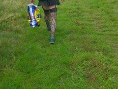 sissy crossdresser runs away when he gets seen in public