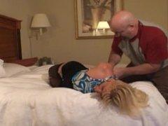 Hogtied in her hotel room