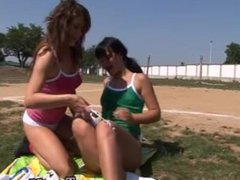 Double stuffed dildo Sporty teenagers munching each other