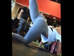 Nice ass blonde girl at the gym