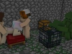 Minecraft Threesome Sex in a Dungeon with Zombies