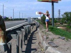 Daring Girl masturbating at side of motorway