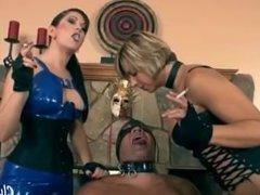 Goddess Brianna & Goddess Deanna - Smoking femdom & spitting slave ashtray