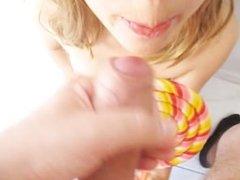 Best blowjob Brazilian Teen  Huge CUMSHOT On Lollipop  Hottest SlaveDoll