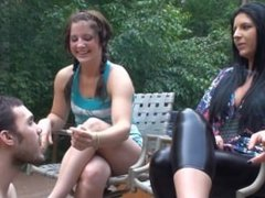Christina & Megan - Human Ashtray Humiliation