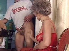 Young stud banging two old ladies in the ass