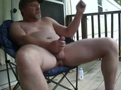 Handsome Daddy strokes on his porch