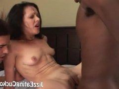 Messy slut gets fondled by two men