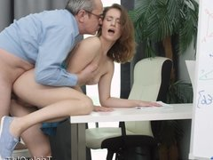 Tricky Old Teacher - Slutty student has sex with horny teach
