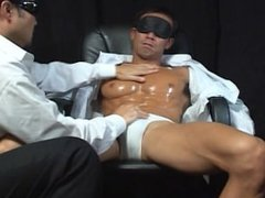 fit japanese business man gets stripped