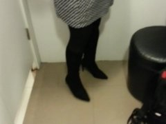 Black Suede Boots with Pantyhose Teaser