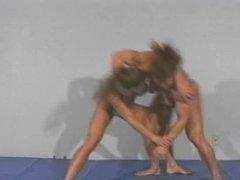 Charlene vs. Michelle topless wrestling part 1