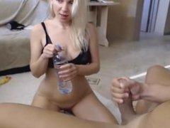 Hot Girlfriend Giving a Big Cock a Blowjob - more at freenudegirlscam_com