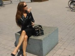 Smoking Lady in sexy outfit and heels 56