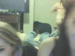 3 girls have fun on webcam