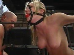 Blonde in bondage sex