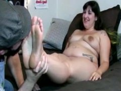 BBW Gamer Goth feet tickled, nibbled and licked