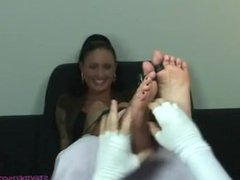 Punk Chick Sabrina bare soles tickling