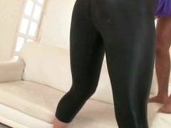 Girls on high heels fuck thru the hole in her leggings