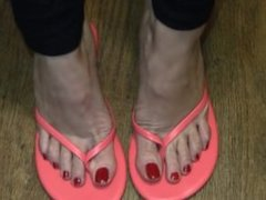 Angela Gorgeous Toes Red-Tips In FlipFlops