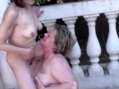 Pissing lesbian action with moms and daughter