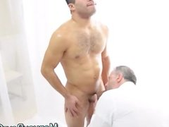 Clothed gay older guy sucks young Mormon cock