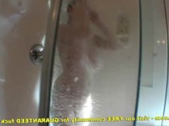 Chesty Teenager Showering Washing Jizz From Her Big Boobs